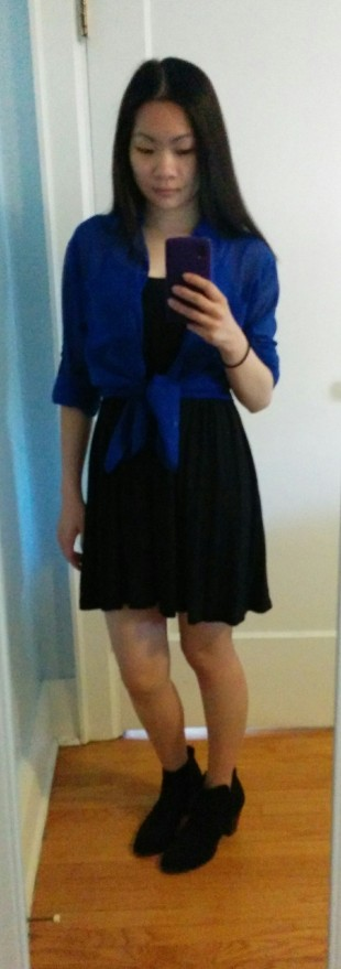H&M shift tank dress paired with a blue chiffon blouse from Garage